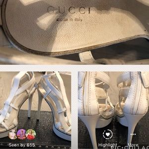 White gucci heels size 38